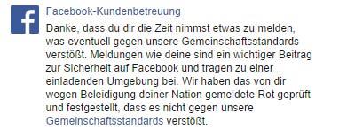 Facebook Reaktion