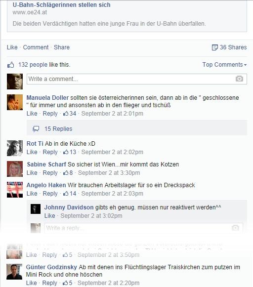 """Diskussion zum Artikel """"U-Bahn-Schlägerinnen stellen sich"""" auf der oe Facebookseite (aufgenommen am 07.09.2014 um 13:40 Uhr)"""