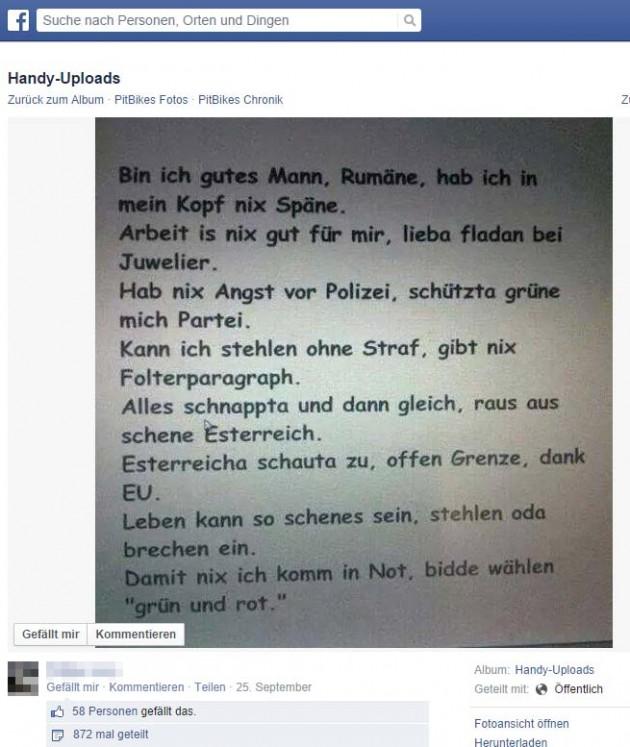 Rassistischer Facebook Post