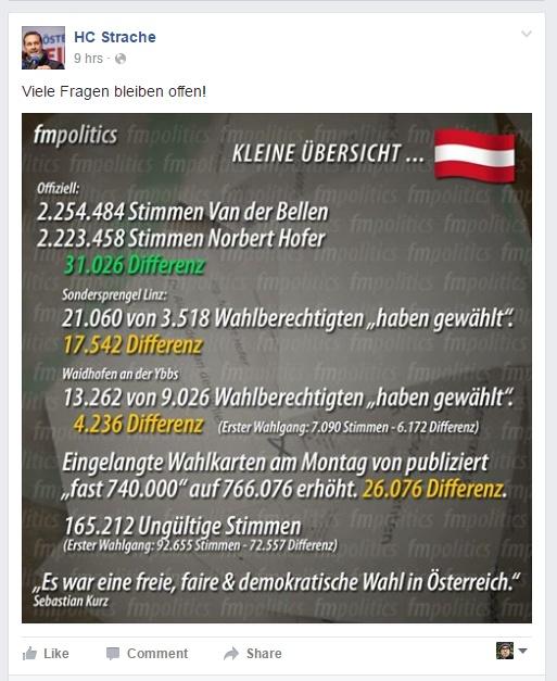 Screenshot von Straches Facebook-Seite